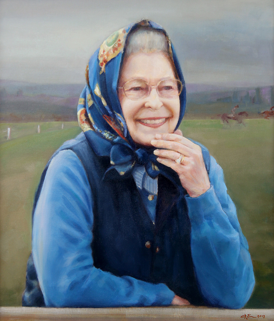 """Her Majesty the Queen  24"""" x 28"""" Oil on canvas. Commissioned by the Kennel Club 2013.  The Queen is patron of the Kennel Club.The last portrait of the Queen commissioned by the Kennel Club was in 1975 by Terence Cuneo."""
