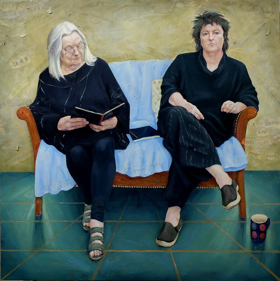 """'The Poets' at the National Portrait Gallery, BP Award 2017 Exhibition.    'The Poets' 120cm x 120cm Oil and mixed media on canvas 2017. Portrait of the Poet Laureate Carol Ann Duffy and the National Poet of Wales Gillian Clarke. Currently showing in the BP Portrait Award 2017 exhibition at the National Portrait Gallery.   """"I'm thrilled with this painting which captures my dear friend, the Welsh poet Gillian Clarke, and I at work and in conversation at Ty Newydd. """"  Carol Ann Duffy  """" The sitting felt easy, three artists recording a shared hour in the conservatory at Ty Newydd, writing in my journal in the company of a poet and a painter. I felt none of the nervousness I feel when being photographed. Some have said the camera steals your soul. This felt more like an exchange of creative ideas.""""  Gillian Clarke   """"The portrait I think I like most, however, is Claire Eastgate's double portrait of the poets Gillian Clarke and Carol Ann Duffy. It's one of the most psychologically resonant here, and the delicate use of familiar objects – a book, absorbing the attention, a mug set down – is part of its powerful effect.    Eastgate succeeds, in quite an unobtrusive way, in showing these women as powerfully intelligent. Clarke seems to be interrogating the book, not just reading it in absorption. Duffy's gaze, stern but benevolent, is unmistakable. I like the power of these personalities; and Eastgate's personality, too, rises from the evident enjoyment of the challenge.""""  Philip Hensher, The Mail on Sunday  About the painting, please click     here"""