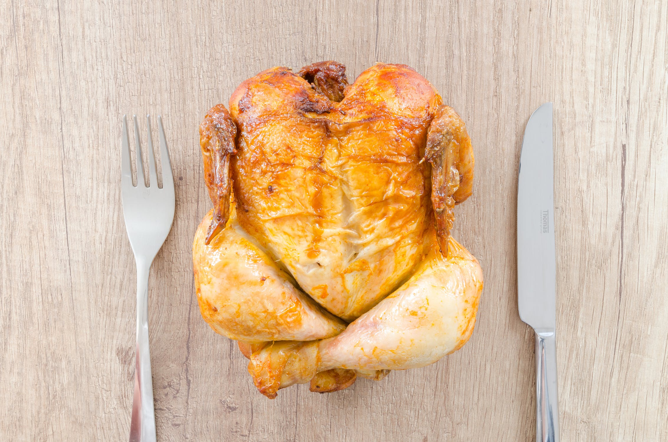 Roasted chicken hot out of the oven. Great for left overs too!