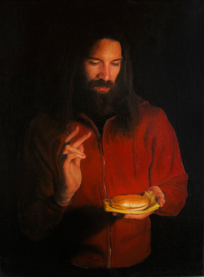 Blessing of the Burger,  2013 Oil on linen 9 x 12 in