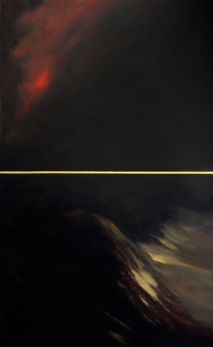 Black Sea , 2014 Oil and 24k gold leaf on canvas 36 x 60 in