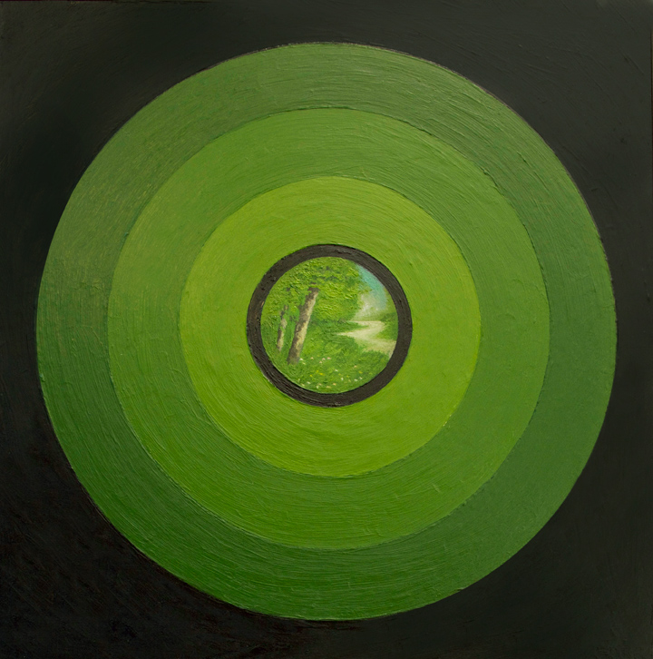 Green Circles , 2015 Oil on board 12 x 12 in