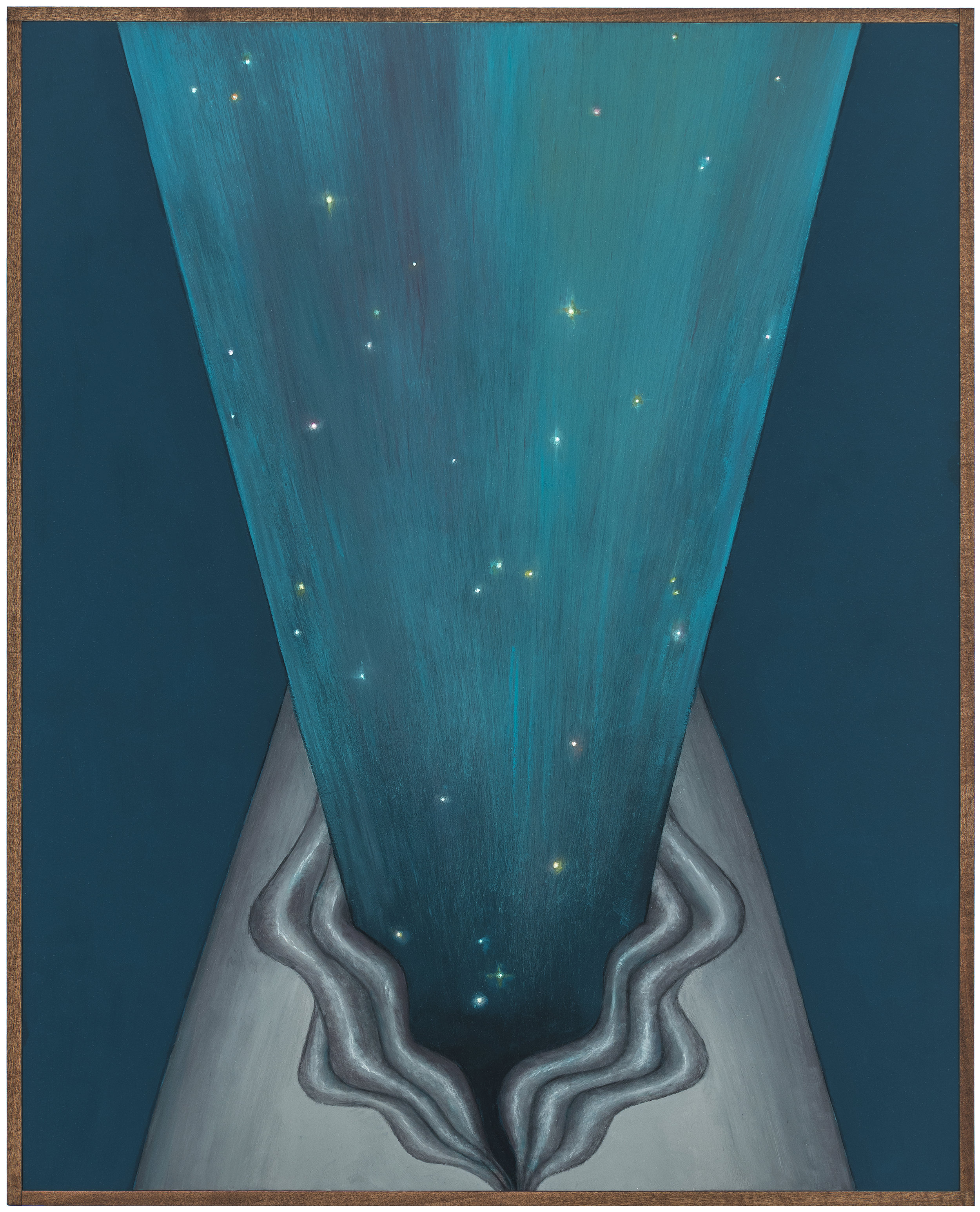Auroral Slit , 2018 Oil on board, wood frame 16 x 20 inches