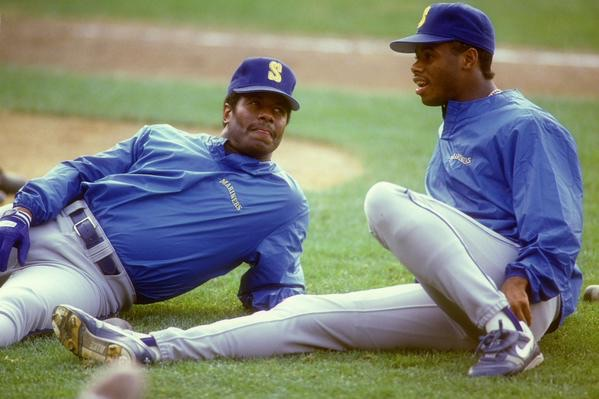 Ken Griffey and Ken Griffey Jr- first father-son duo to play on same team (Mariners). Photo by SportsCenter