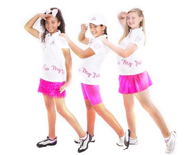"""These golf girls are feeling pretty in pink with matching """"Kiss My Putt"""" polos for Breast Cancer Awareness month."""