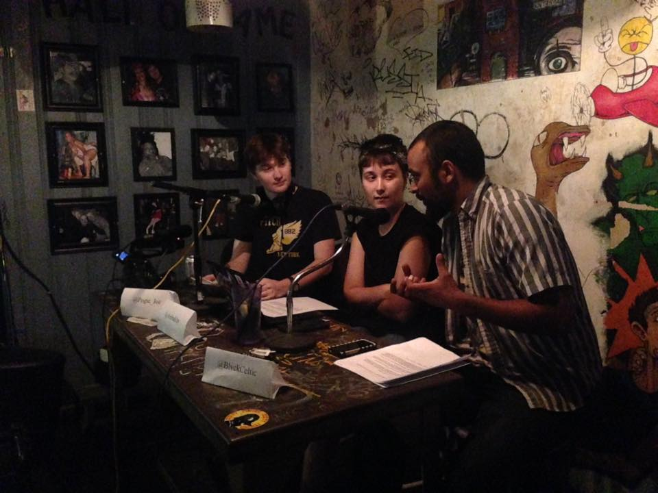 """Joe and his fellow cohosts of the """"Can You Not?"""" podcast presenting a live show at """"Now That's Class."""""""