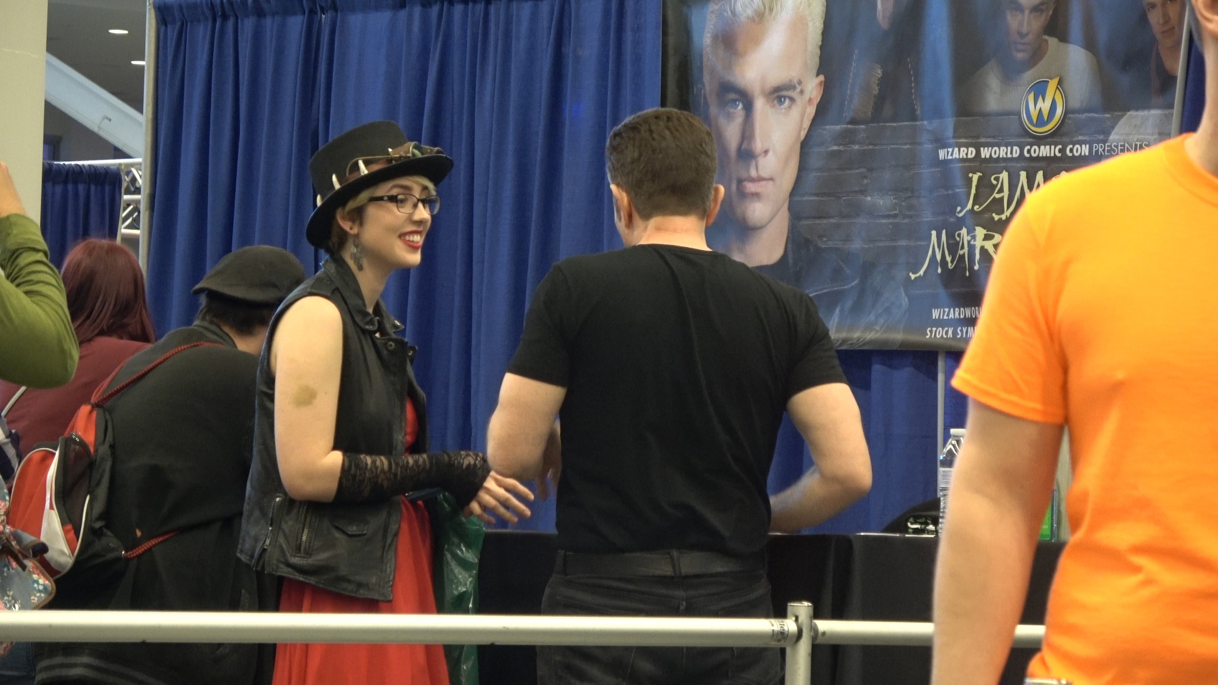 This is Becca's 2nd time meeting James Marsters, after we filmed a cameo with him in 2015 for Billie Bob Joe