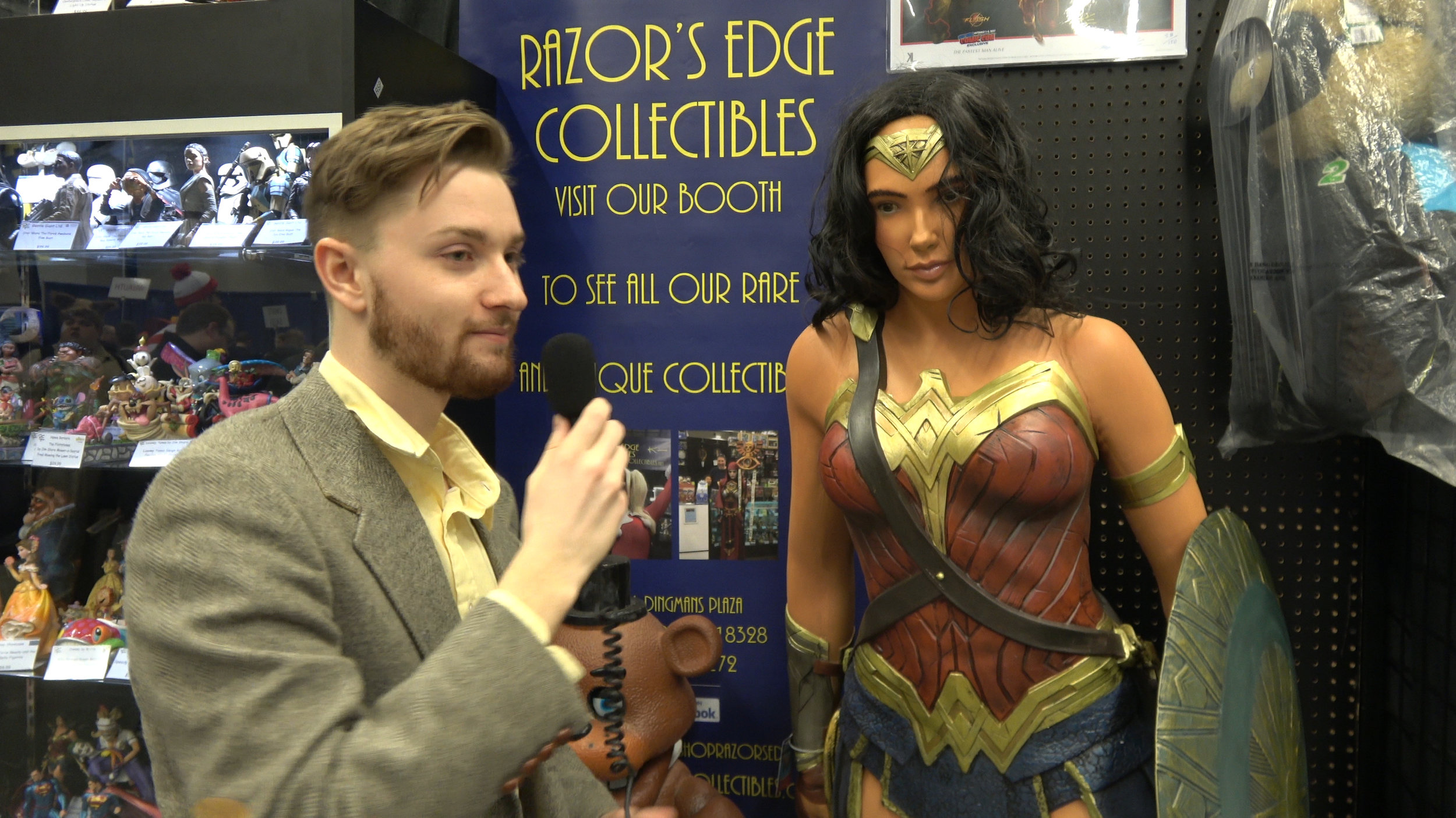 I tried a bit where I interviewed a motionless Wonder Woman statue, but it was too unfunny, even for me