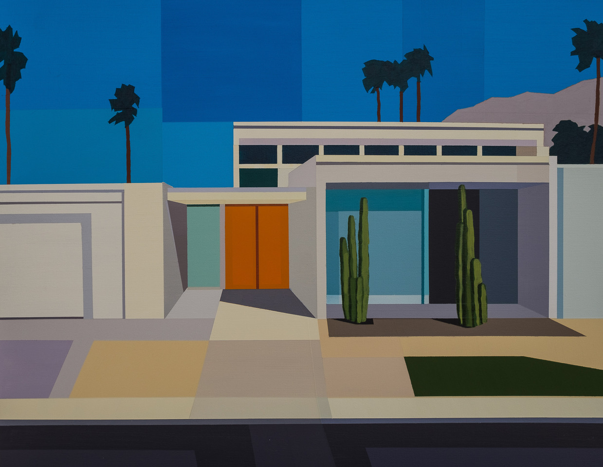 Andy Burgess, Palm Springs Modern House II, 2017 acrylic on canvas, courtesy  Etherton Gallery