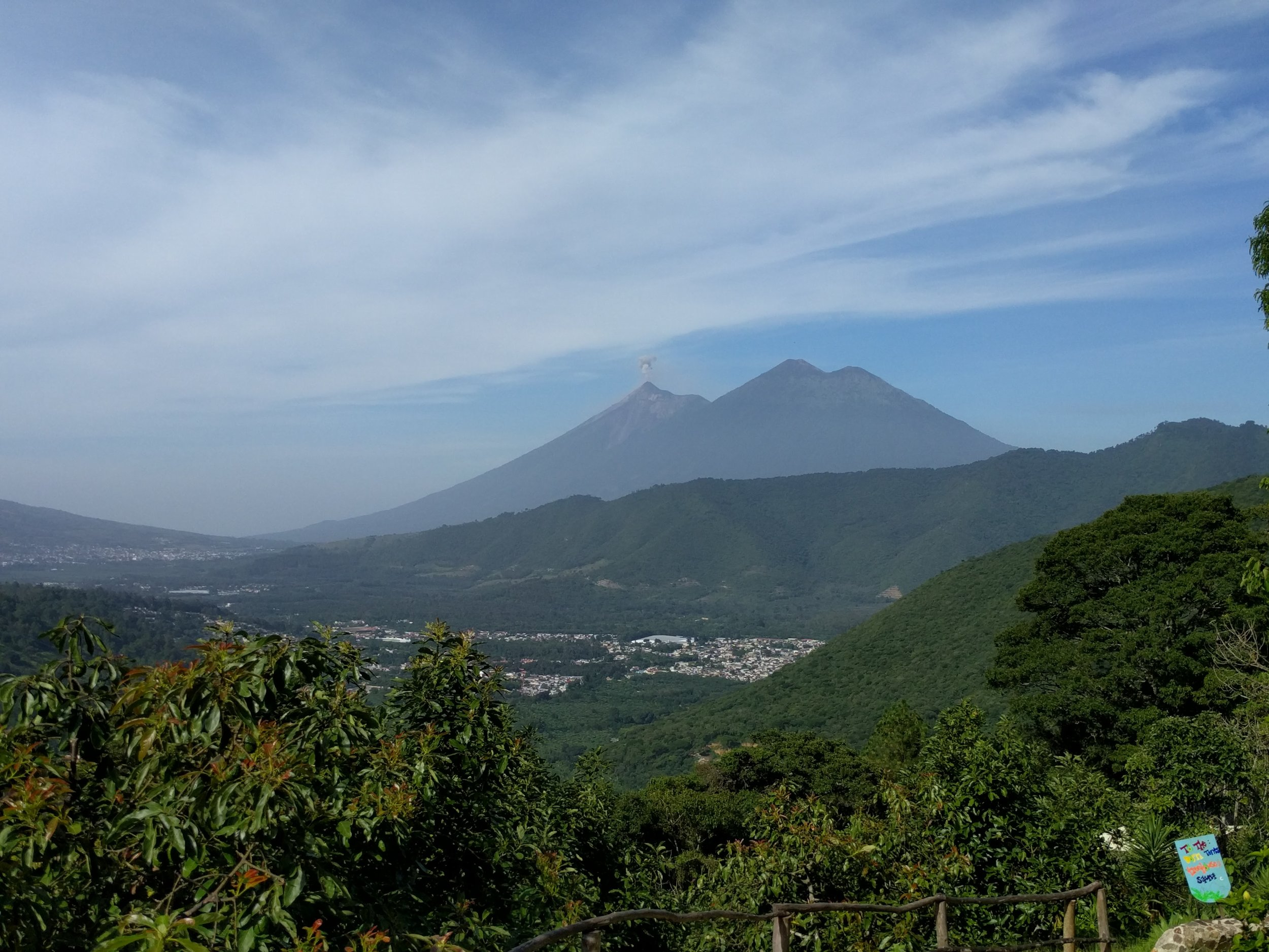 The view of the volcanoes Fuego and Acatenango from Earth Lodge