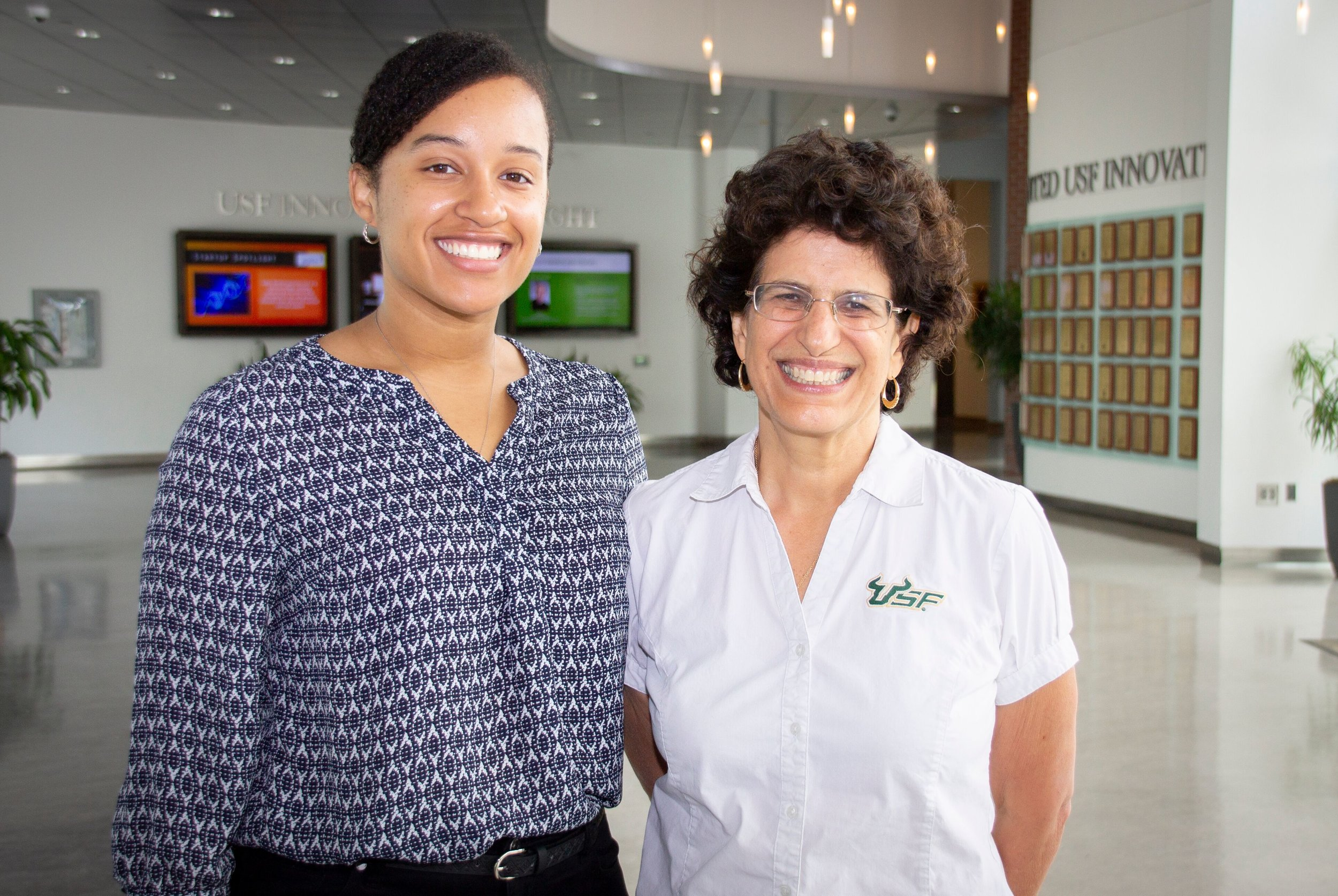 Dr. Ergas and I inside of the University of South Florida's Interdisciplinary Research Building where our lab is located