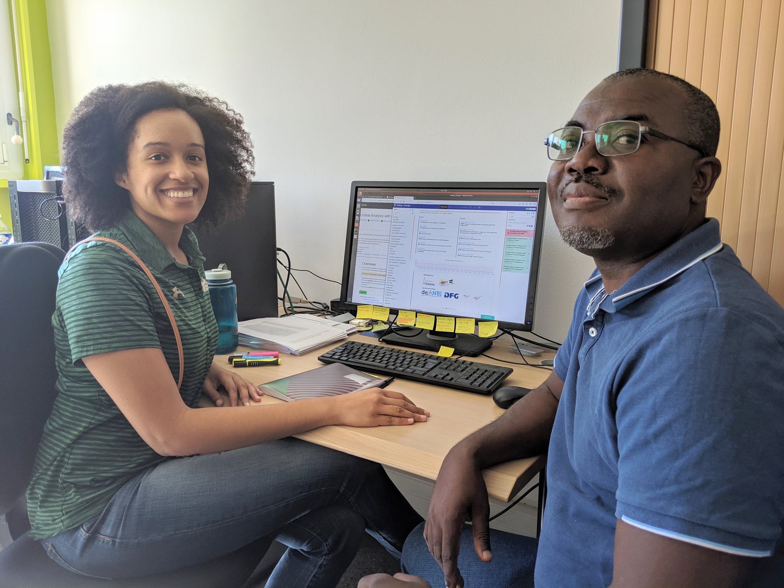 Dr. Talla and I using a computational tool to analyze our next generation sequencing data.