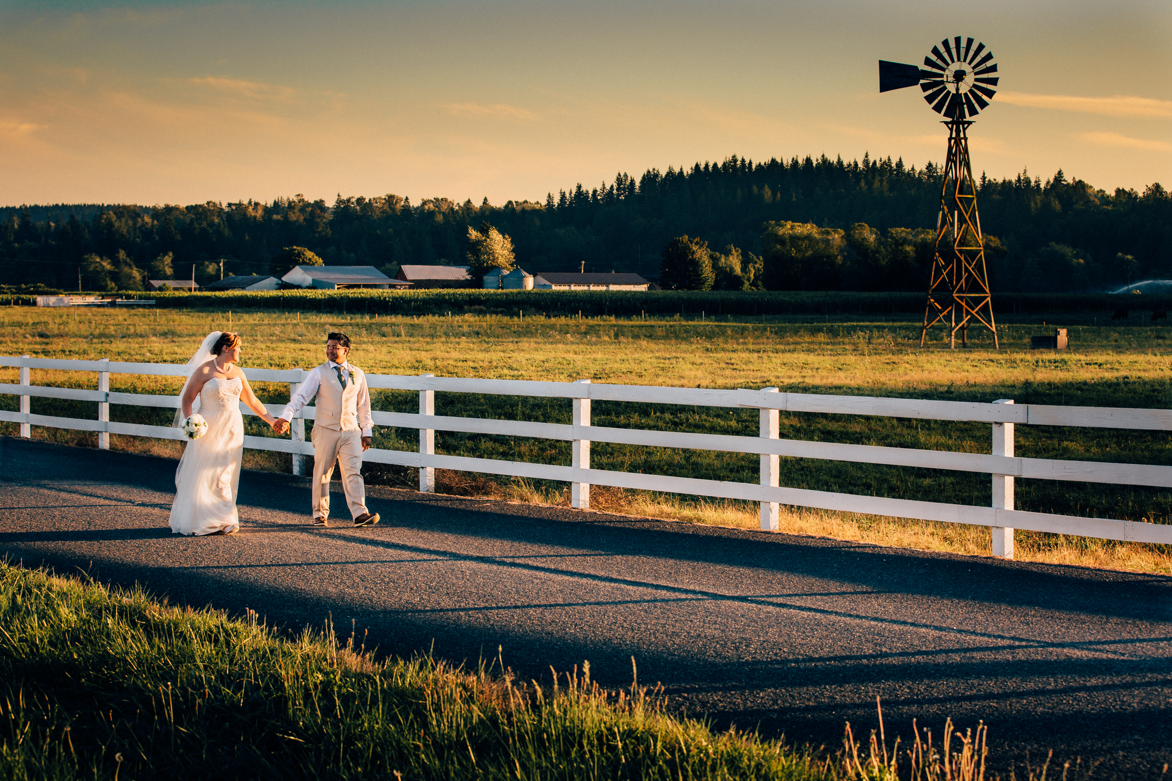 Arlington Washington wedding, windmill and Stilly Brook Farm at sunset