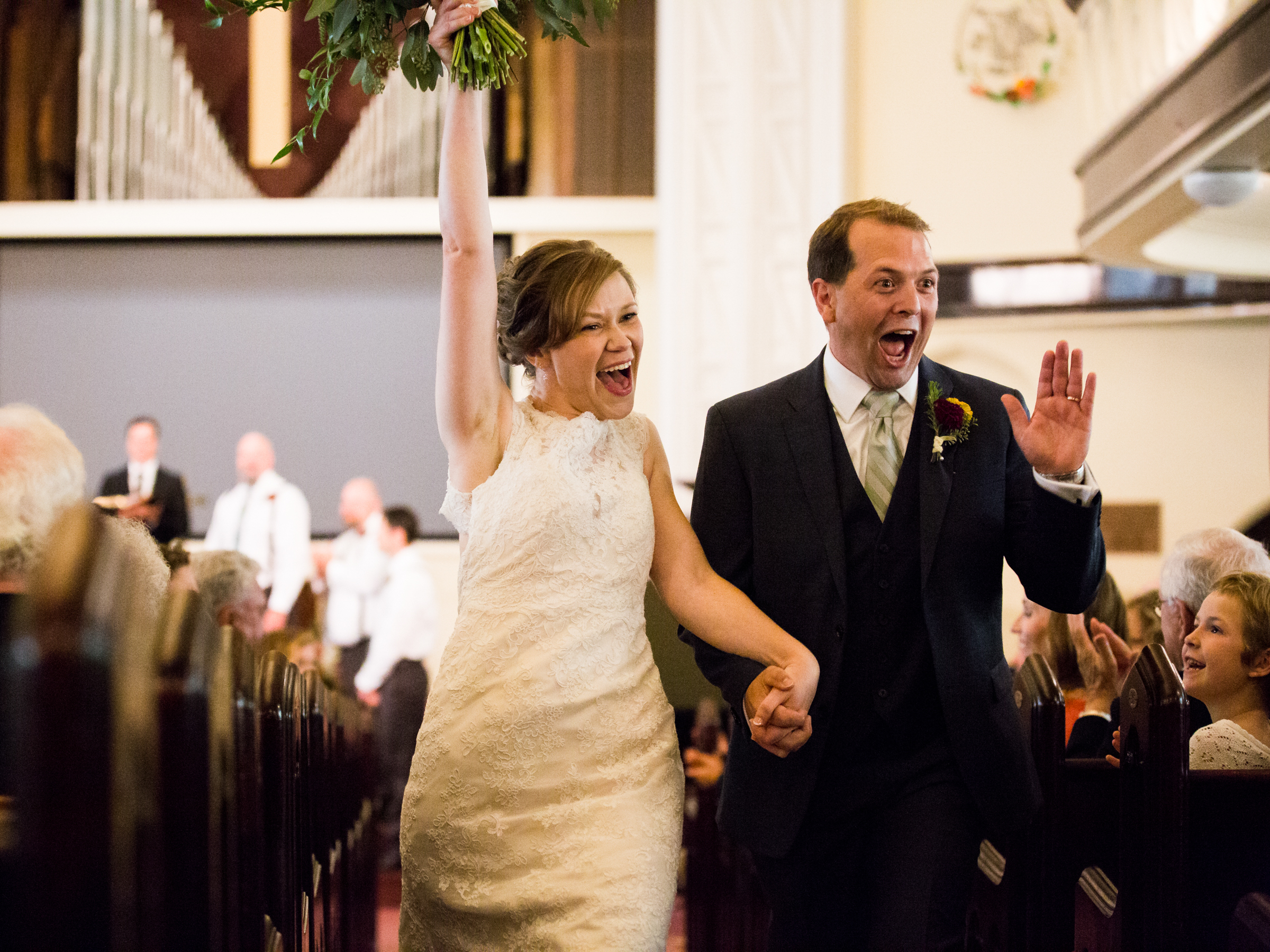 Bellingham Washington wedding, celebrating in the aisle First Presbyterian