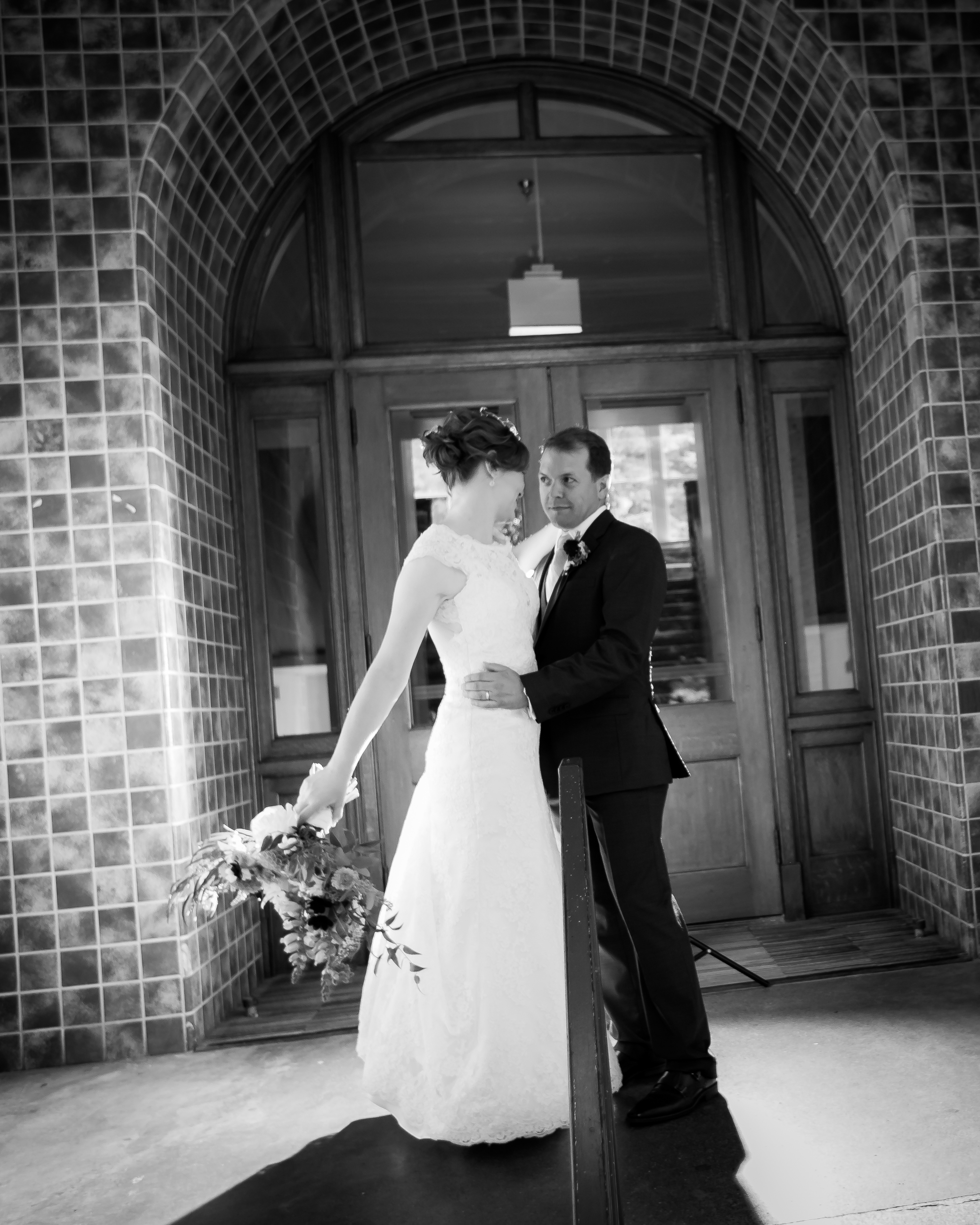 Bellingham Washington wedding, dramatic light at Old Main, Western Washington University