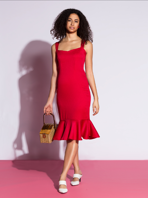 Lagi Red Dress With Ruffle.PNG