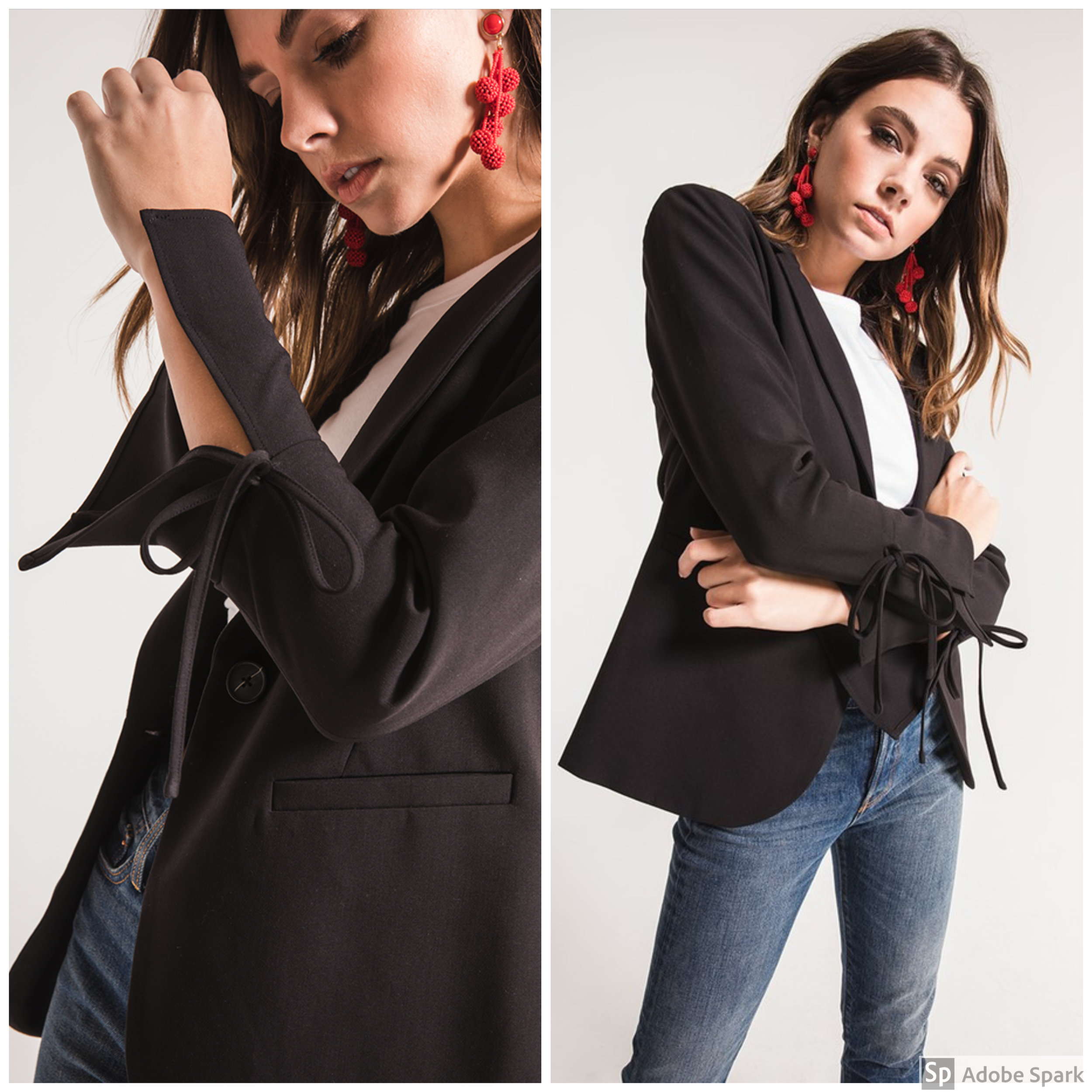 Woven Blazer - Spotlight Features: long bell sleeves with self-tie detailsWhy It's a Favorite: This classic fashion staple got an upgrade! We love the statement sleeves and unique details!