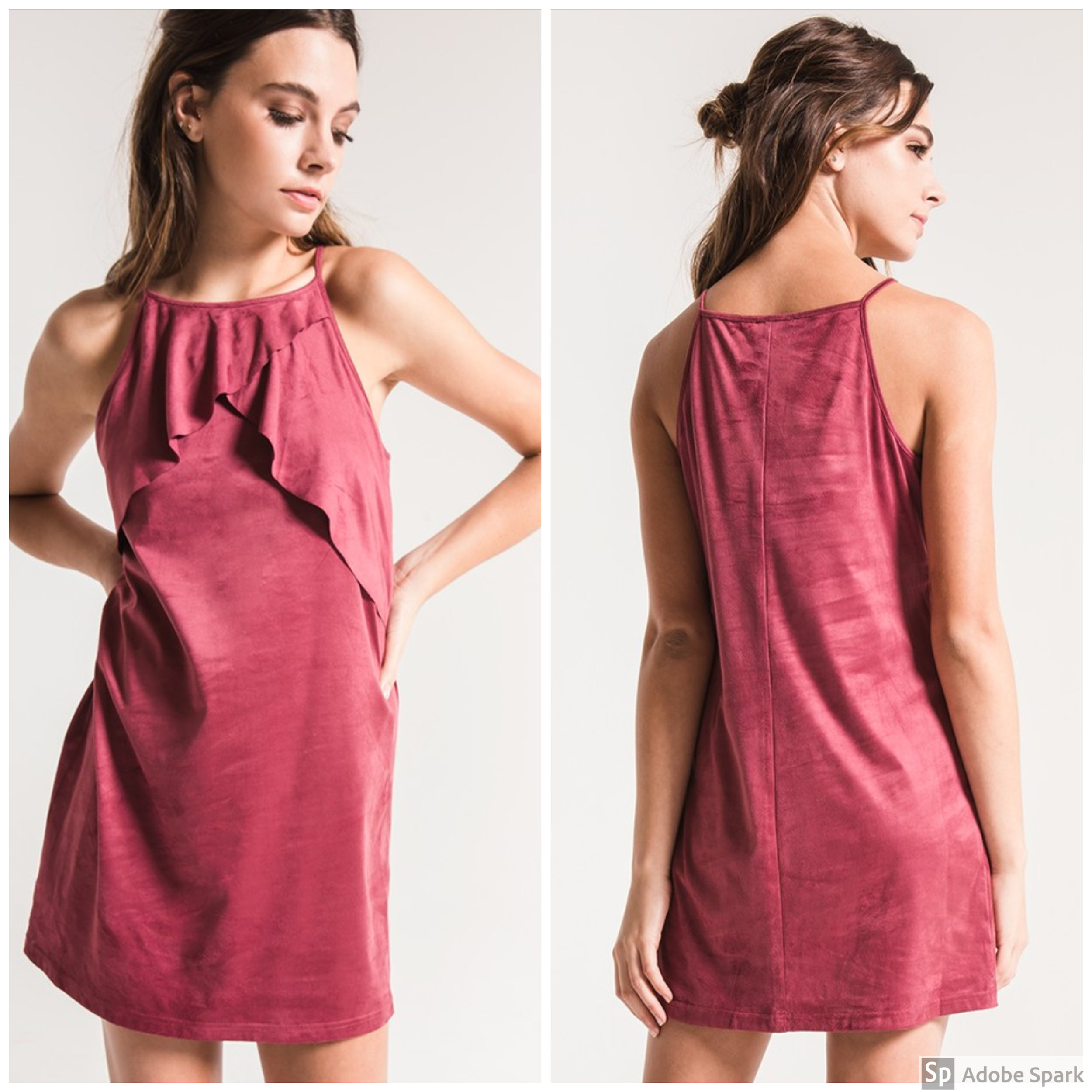 Faux Suede Dress - Spotlight Features: high neckline accentuated with ruffle detail across the frontWhy You'll Love It:This dress is cute now with open toe sandals or wedges, and it will be just as cute once it cools off underneath a light jacket & some ankle booties!