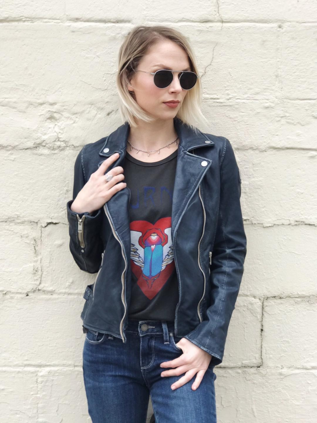 - My go to outfit is a Band Tee, Jeans, and a Leather Jacket.Journey Graphic Tee by Lauren Moshi, Mauritius Blue Leather Jacket, Paige Distressed Denim, Krewe Sunglasses and Catherine Page Choker.