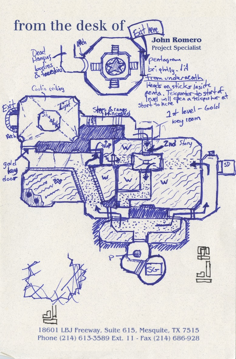 """""""I started sketching levels by hand due to the intricacies and possibilities in a true 3D space. No one had done anything like this before, and it was necessary to conceptualize in the old before creating something in the new."""" — John Romero"""