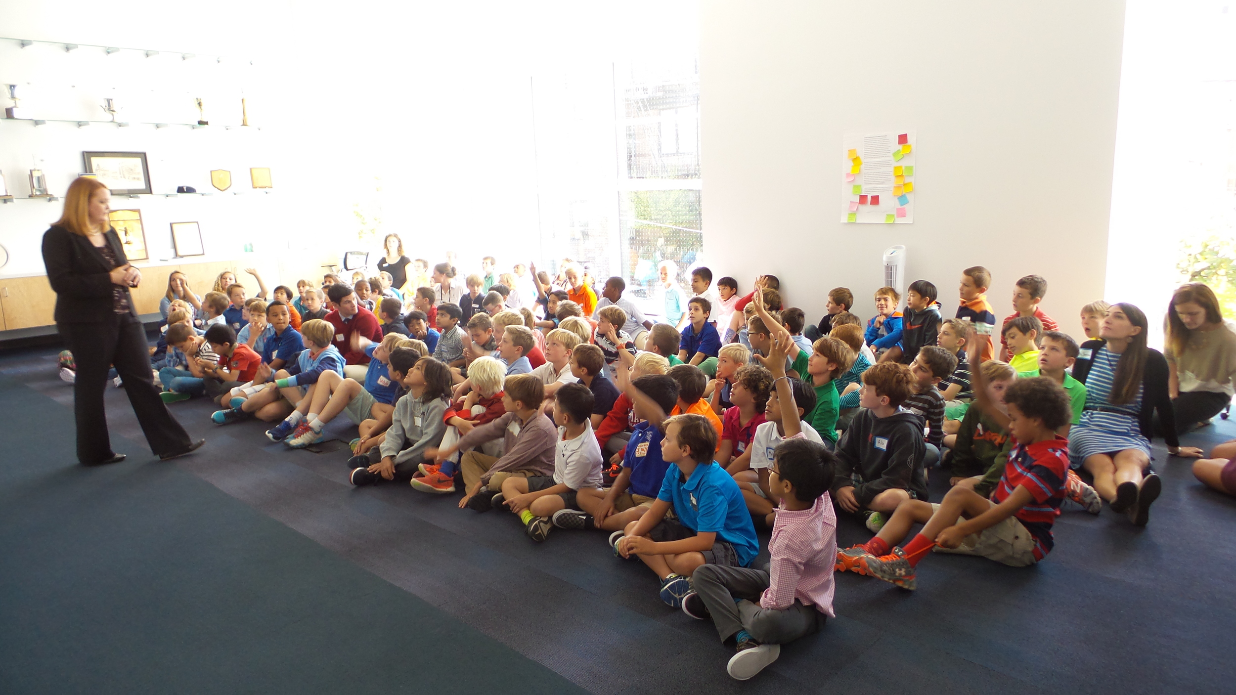 Welcoming assembly with 3rd & 4th graders.