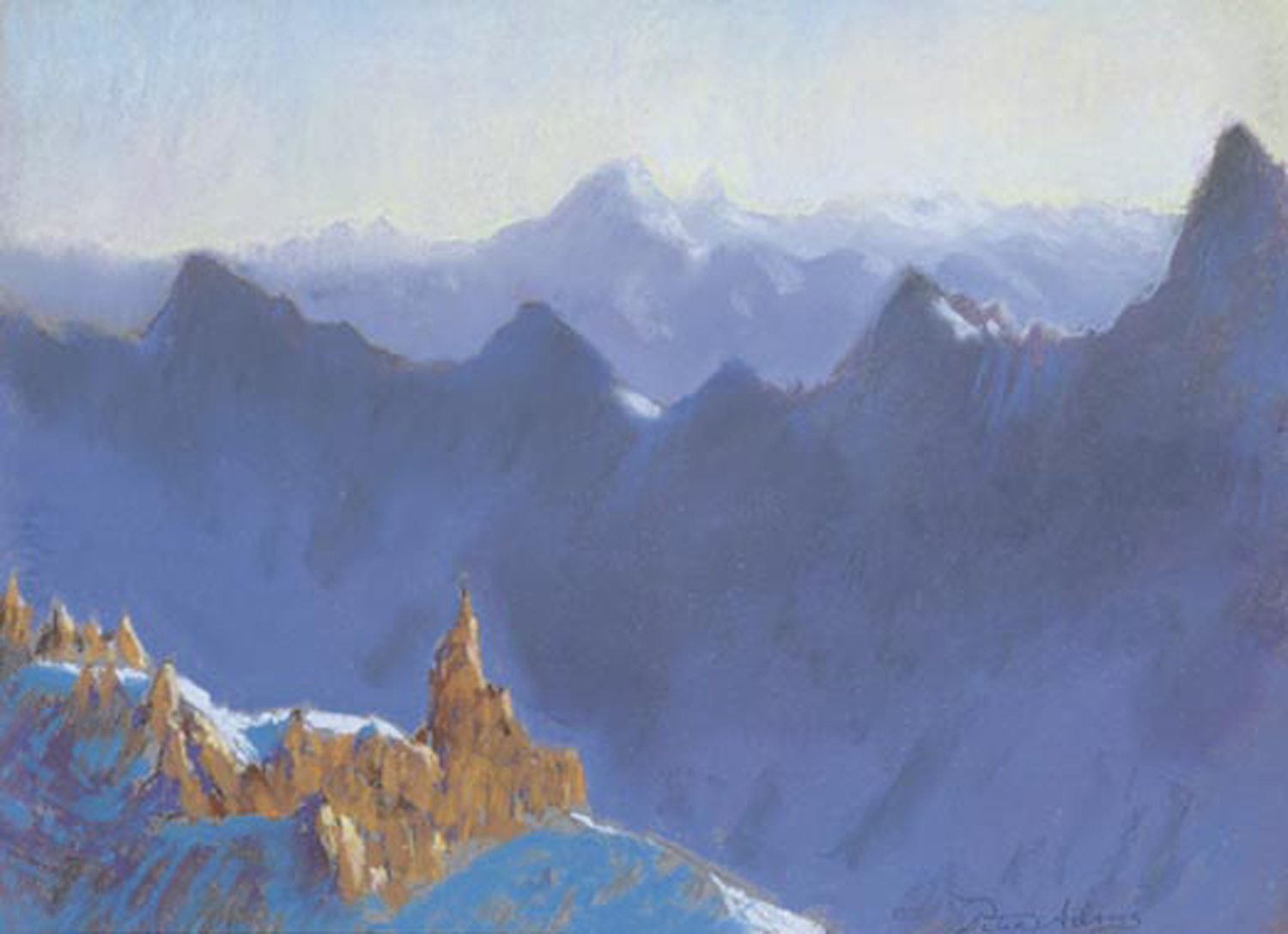 <i>Sunrise View of Mont Cervin from Aiguille du Midi on Mont Blanc</i>
