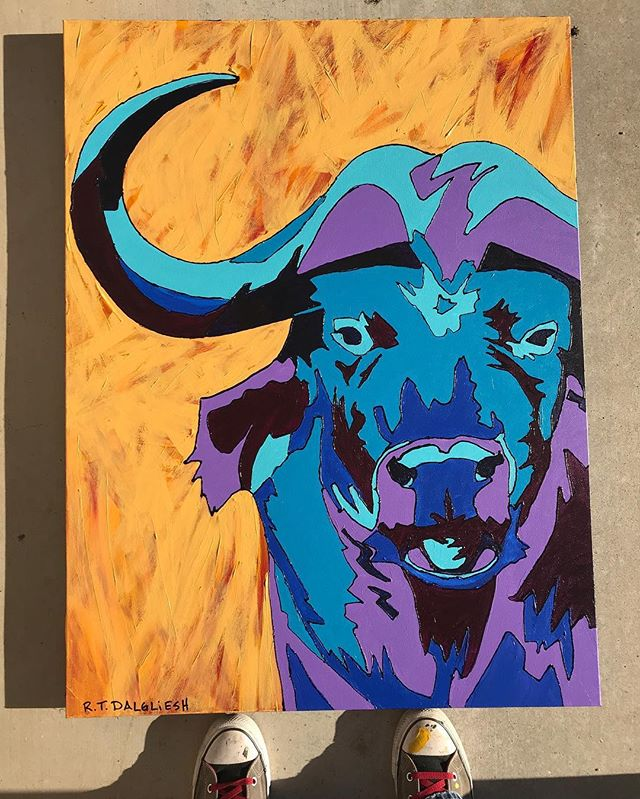 I went a bit #popart on this #capebuffalo for my #africansafari series. This beautiful piece along with the rest of this series is available on my website. (Link in bio) or you can swing by my studio to see them in person. This week I'm working on commissions all week. Next week I'll start my new #ballet series. I've got some great pieces in store for this next series and I look forward to revealing them all to you in November. In the meantime buy this series up and let's raise some money for some great causes in #Africa . Remember purchasing any of my work will benefit the #animalreserve and the small orphanage. . . . Do you live in #atx ? I'll be at @thecarringtonbuda on September 13th. Come and visit with me and check out my work that evening. #rtdalglieshfineart . . . . . . . . . #wildlifeartist #ilovemyjob #commissionsopen #fineart #artforacause #makeadifference #texas #texasartist #interiordecor #interiordesign #homedecor #contemporaryart #contemporaryartist #wildlife #inspired #inspiredbynature #supportsmallbusiness #buyart #artforsale #artcollector #artcollection