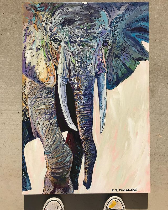 "This #elephant gave me some fits during the painting process. I was struggling with finding my rhythm on this piece. But he finally came together and turned out #beautiful . You should see this guy in person. This #painting measures 36""x24"" And is #AVAILABLE on my website. ""The Guardian"" seemed to be the second most popular piece in this #africansafari series and it's looking for a good home. #rtdalglieshfineart . . . . . . . . . @rtdalglieshfineart #sanangelo #inspiredbynature #wildlife #wildlifeartist #texas #texasartist #interiordesign #interiordecor #interiordecorating #homedecor #artforsale #artcollector #artcollection #creativelifehappylife #ilovemyjob #makers #creatives #contemporaryart #contemporaryartists"