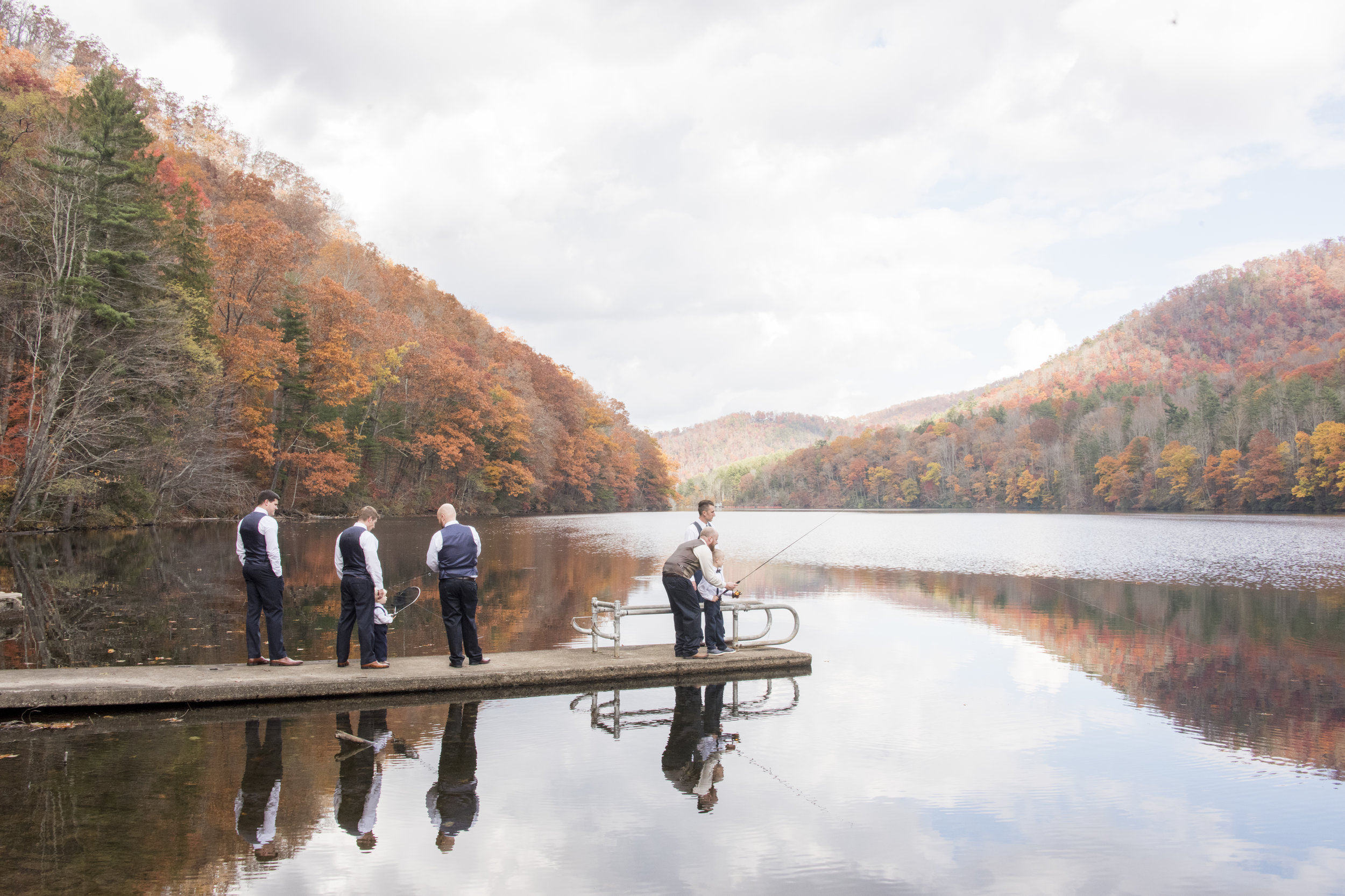 Groomsmen on the lake