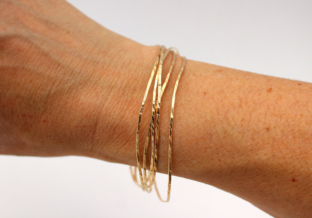 Hammered Sterling Silver Bangle with 14k Gold
