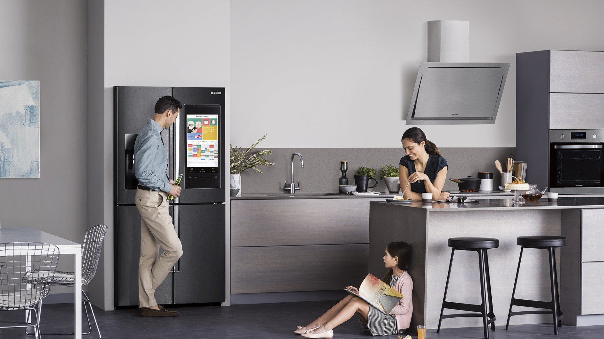 Figure 1. Samsung smart fridge advertising, featuring an idealized view of the kitchen.