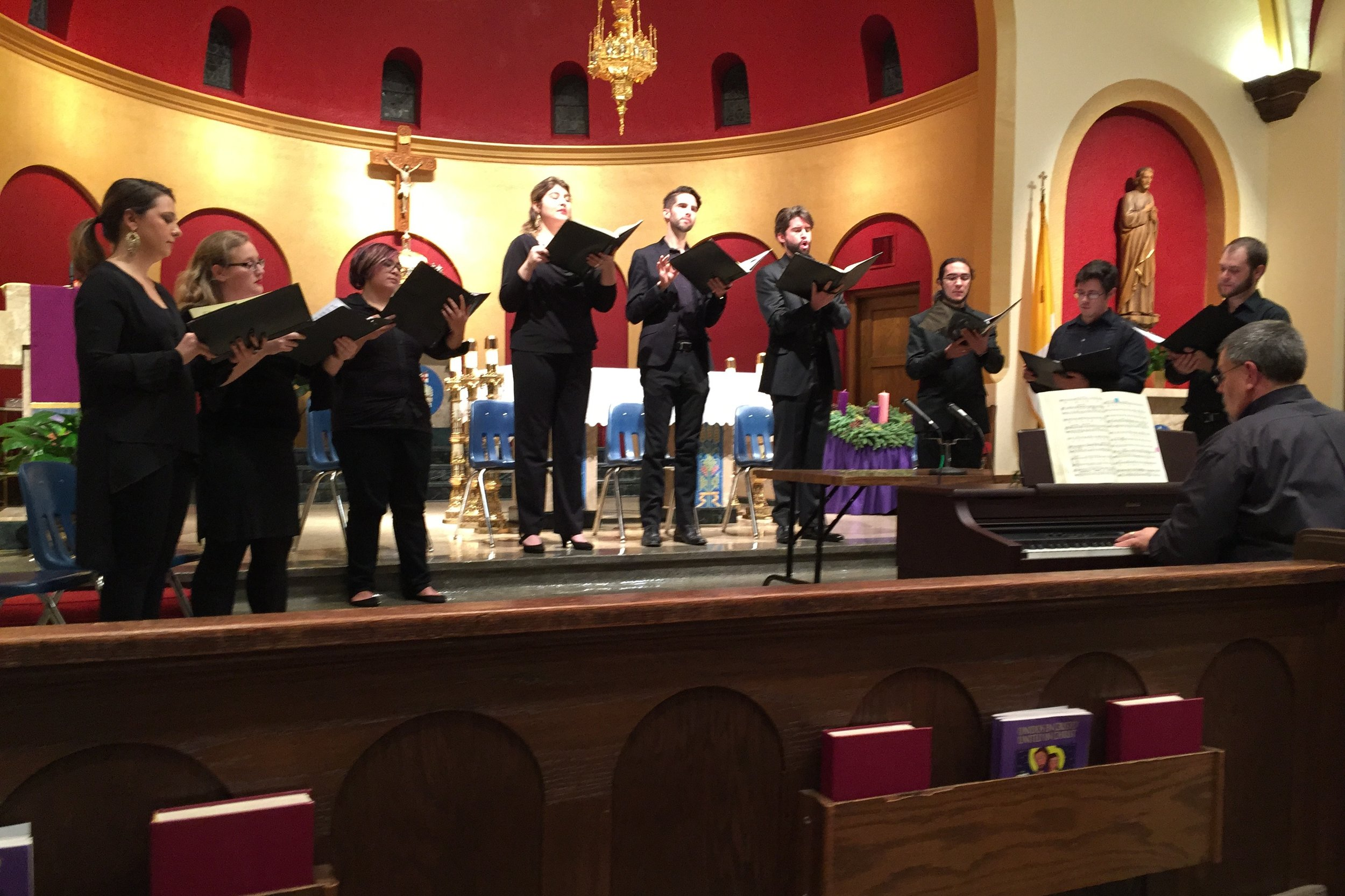 Four soloists and a five-person choir perform Jakub Jan Ryba's Czech Christmsas Mass in the beautiful sanctuary of St. John Nepomucene Catholic Church in Ennis. Left to right, Julianna Emanski, solo soprano; Amanda Jacobsen, soprano; Francesca Cacal, alto; Hannah Ceniseros, solo alto; Barrett Radziun, solo tenor; Brock Johnson, solo bass-baritone; Santiago Gutierrez Herrera, tenor; Hastings Reeves, bass; Lance Russell, base; and Dr. Thomas Sovik on keyboard.