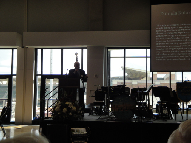 The namesake of the fellowship's brother, Joe Hlavinka, Jr., welcomed guests and introduced members of the Hlavinka family.