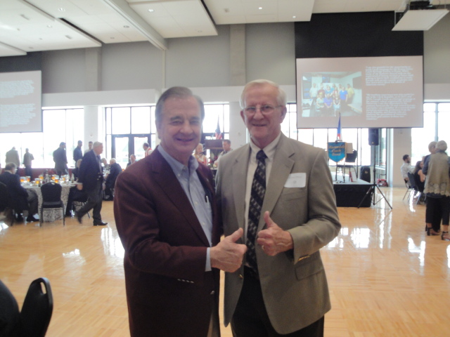 Keynote speaker Chancellor John Sharp of the Texas A&M University System and guest Chancellor Emeritus Lamar Urbanovsky, Former Chancellor of the Texas State University System.