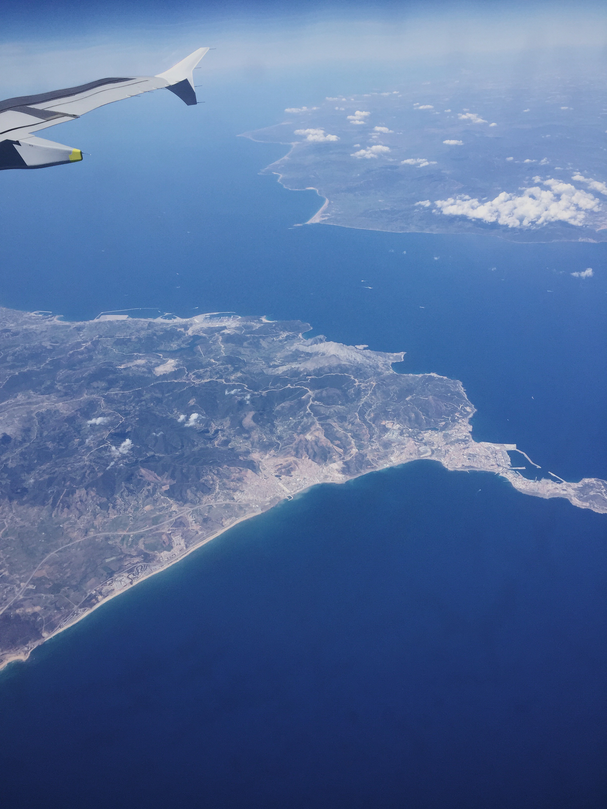 This photo was taken by my friend, Claire Fagin, (posted with her permission) and shows the divide between Spain and North Africa!