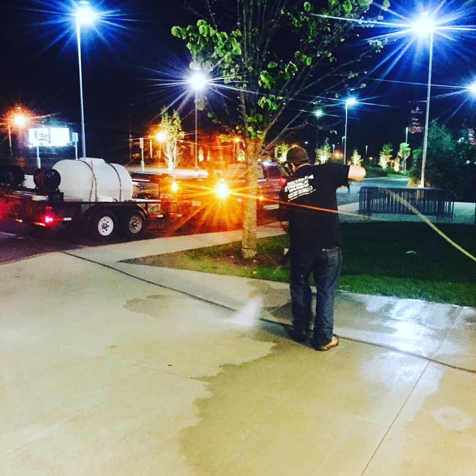 Washing & Sealing Sidewalks at Patriot Place Foxborough,MA!
