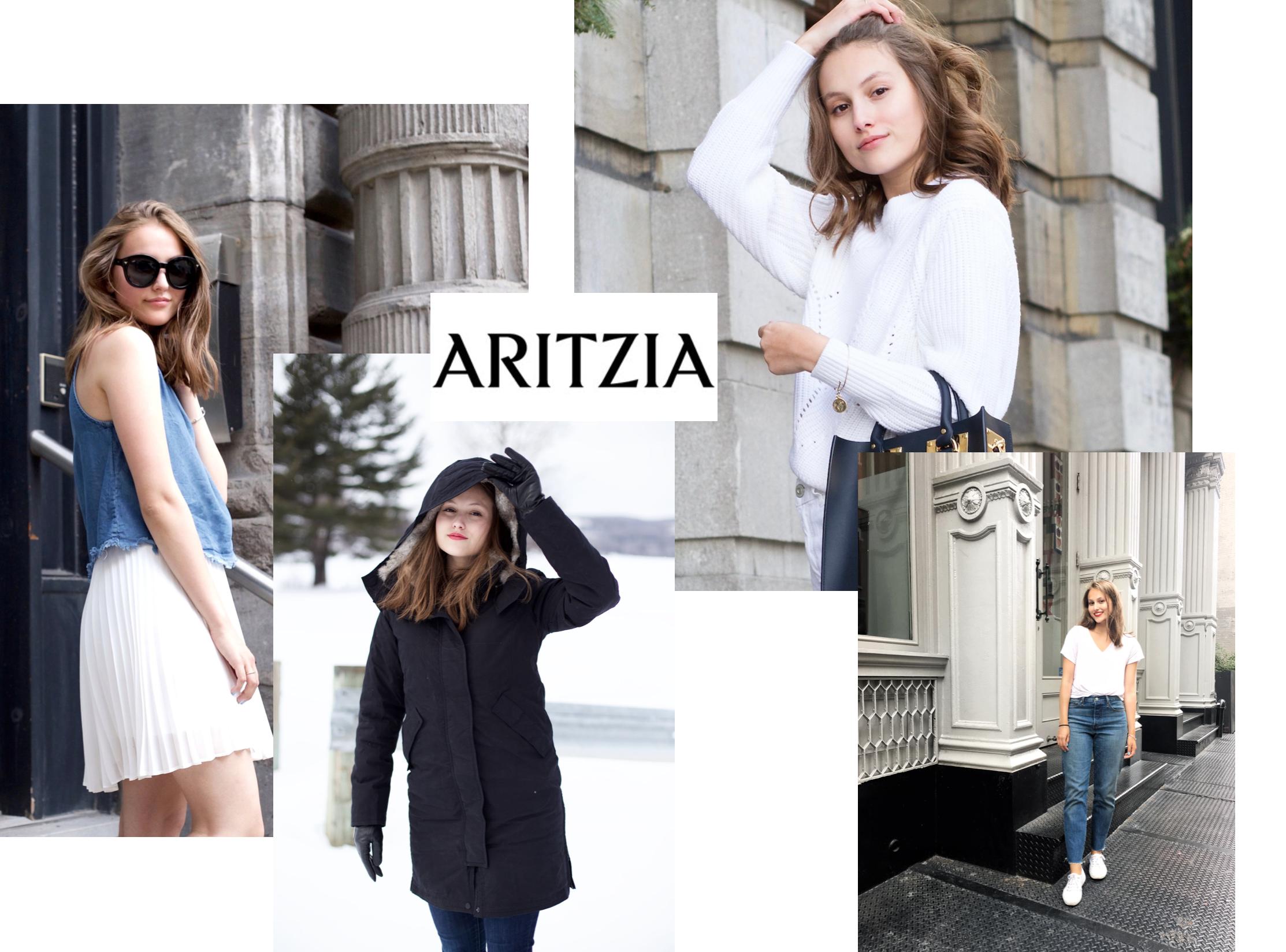 1: Aritzia Babaton pleated skirt / 2: Aritzia Babaton parka / 3: Aritzia Wilfred knit /4: Levi's jeans via Aritzia