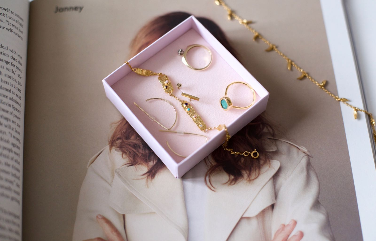 Clockwise: Vintage ring / (outside the box)  Lucy Williams x Missoma Fang necklace  /Monica Vinader Amazonite ring (similar  here ) / Catbird 'S' stud earring / Mejuri bar stud earring /  Maanesten Bourne bracelet  / & Other Stories earrings