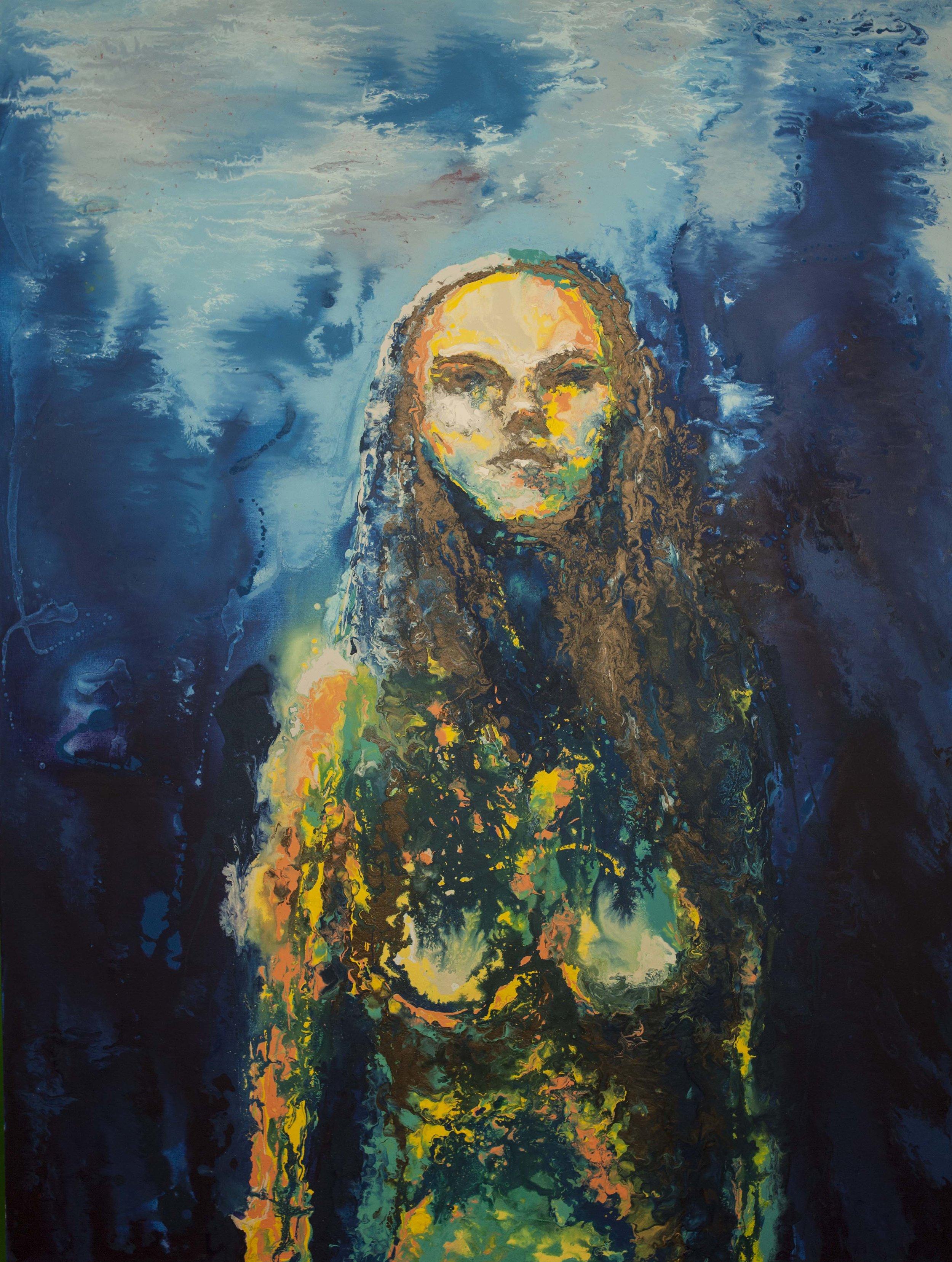 Mujer que fluye   Acrílico sobre tela, 120 x 180 cm