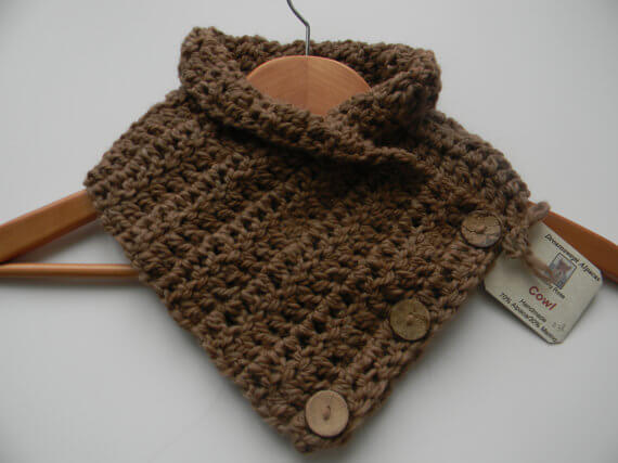 Three Button Alpaca Cowl Scarf