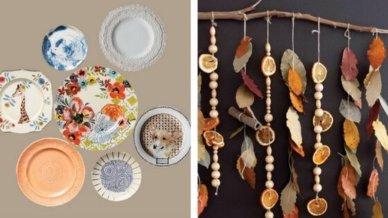 Plates available from  Anthropologie . Boho wall hanging tutorial  here . Hint: bring a translator