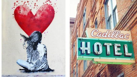 Left:  photograph of street art  (another form of art I'm crazy about). Right:  photo of the Cadillac Hotel in Seattle.  Did I know there was a Cadillac Hotel? Nope! And that's why I love this. Fantastic colors and some exclusivity. Both photos from  CarmenBrownImages