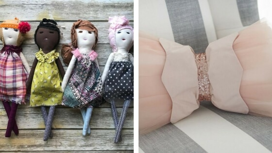 The most fantastic dolls available by  Alissa Levine of The Tailor's Granddaughter  . Throw pillow by Emily + Merritt at  Pottery Barn Kids