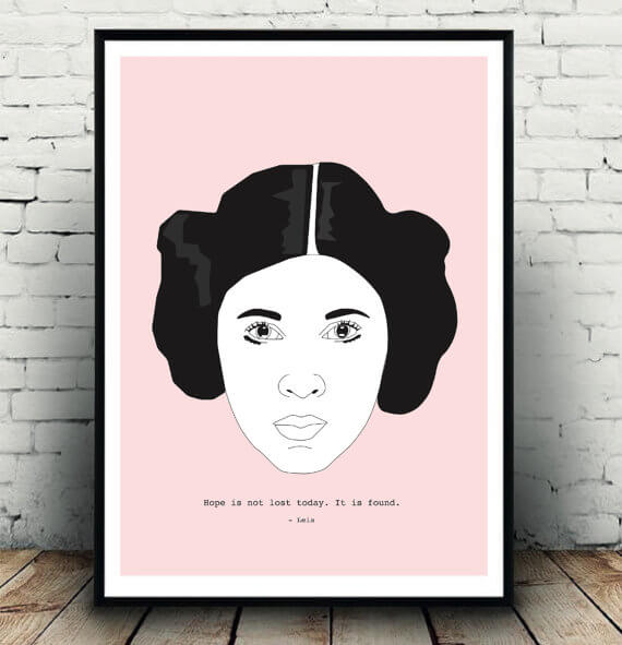 Princess Leia/Carrie Fisher tribute art by Keeley Shore, available at her Etsy shop,  Girlvisual