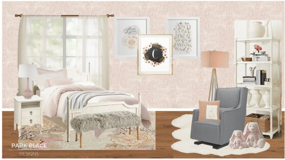 Wallpaper: Adanza (blush) from  Hygge and West