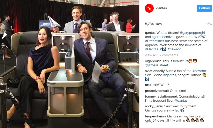 Nicole Warne, who has 1.7 million Instagram followers, models for Qantas. Image credit - Qantas IG