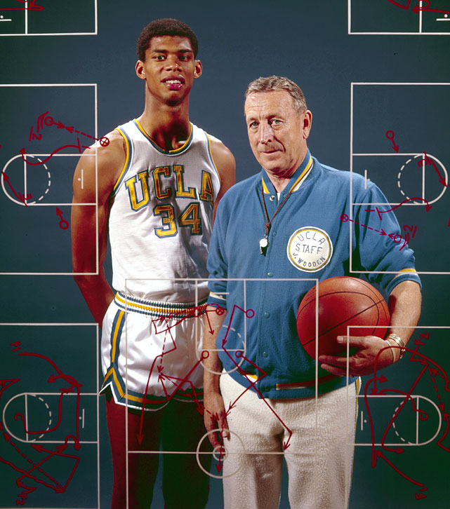 UCLA Lew Alcindor later known as Kareem Abdul Jabbar and Coach John Wooden