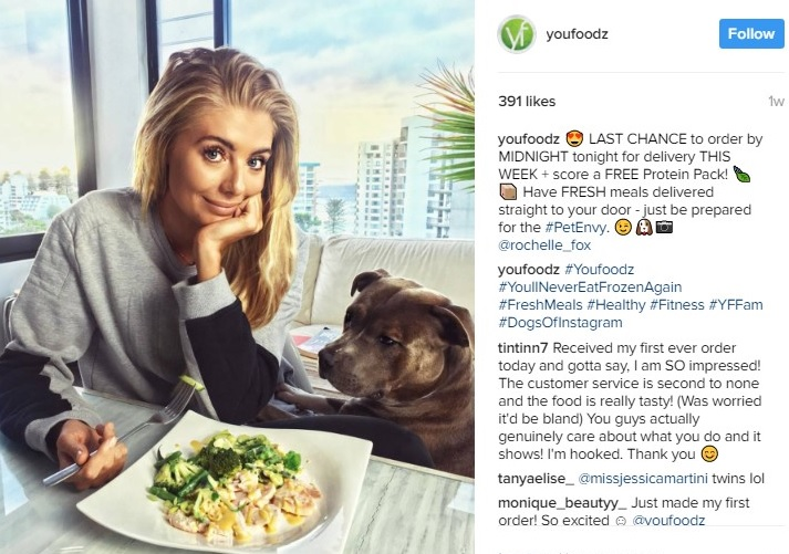 Youfoodz uses Instagram influencers to propel their message