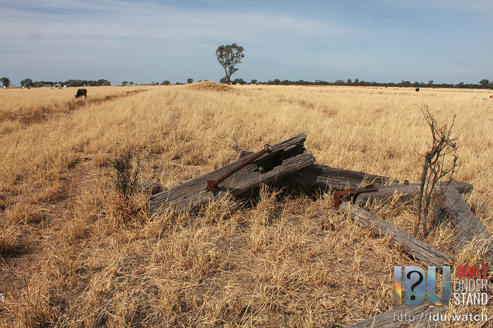 The remains of the buffer at the end of the Pokataroo/Collarenebri railway line.