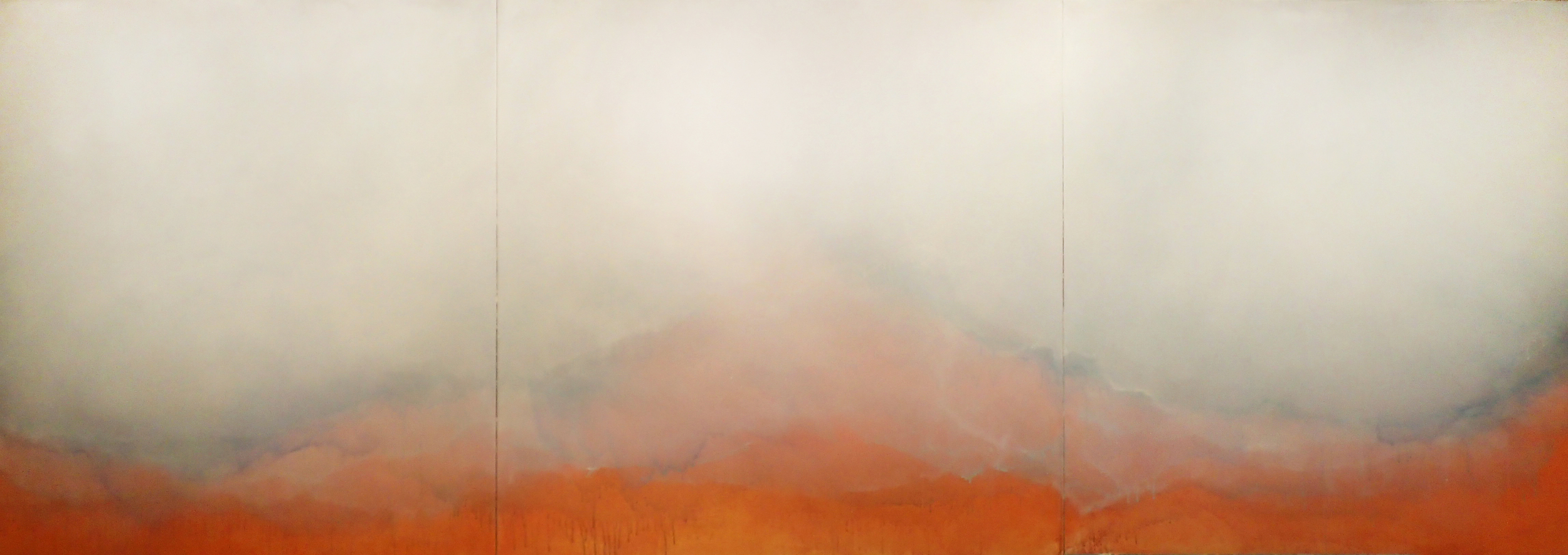 "Untitled, 2015, acrylic on canvas, 48"" x 144"""